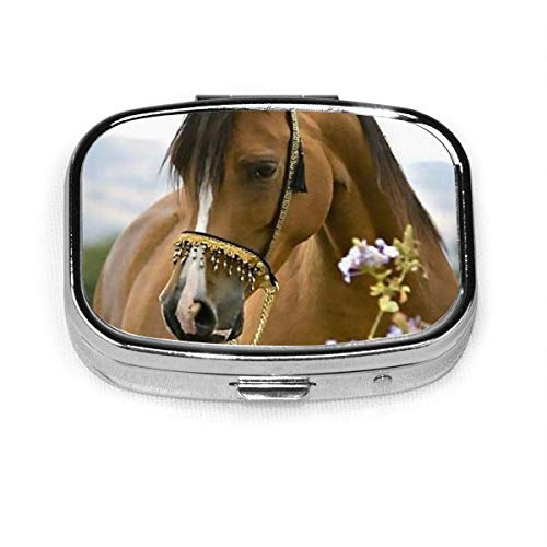 Beautiful Horses in Flower Square Pill Box, Daily Pills Case with Easy Push Button for Vitamin, Easy to Open, Compartment Waterproof Daily Pocket Pill Case for Men and Women