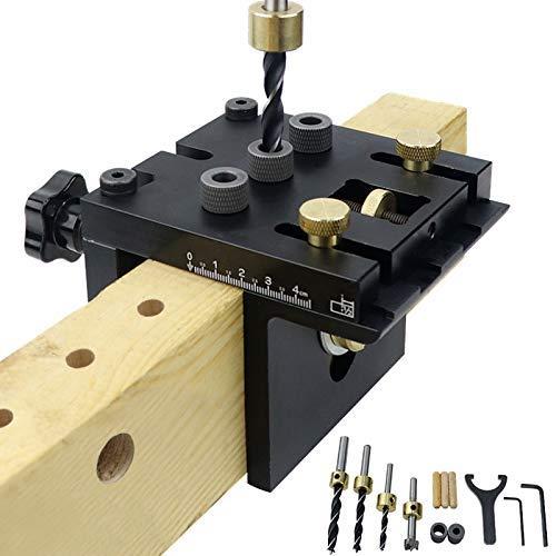 Ezeruier Perforadora para madera, sistema de herramientas de kit de montaje de orificios de bolsillo, localizador de perforaciones tres en uno, con abrazadera de posicionamiento, guía de perforación a