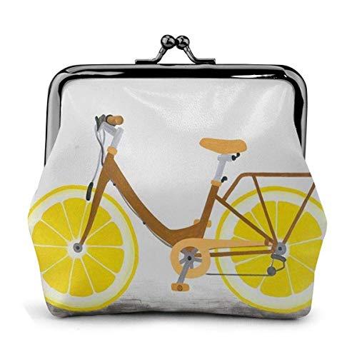 Bicicleta con Rueda de limón PU Cuero Exquisita Hebilla Monederos Monedero Vintage...