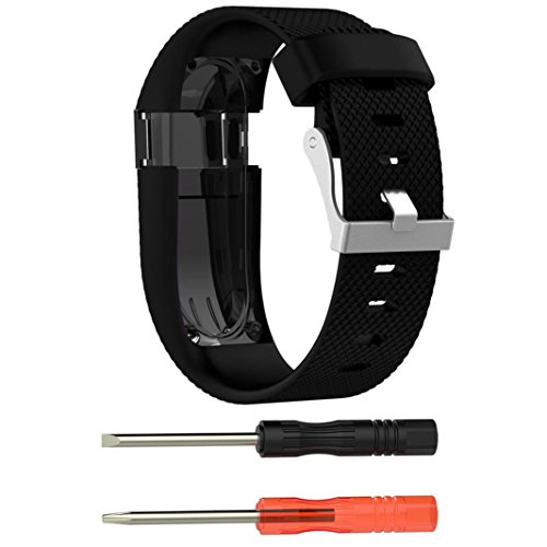 Ouneed® Für fitbit Charge HR Uhrenarmband Armband , Ersatz Silikonband Gummiband Wristband Armband für Fitbit Charge HR (Schwarz)
