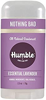 Humble All Natural Deodorant, Aluminum and Paraben Free, Cruelty Free Men's and Women's Deodorant, Essential Lavender, 1-Pack