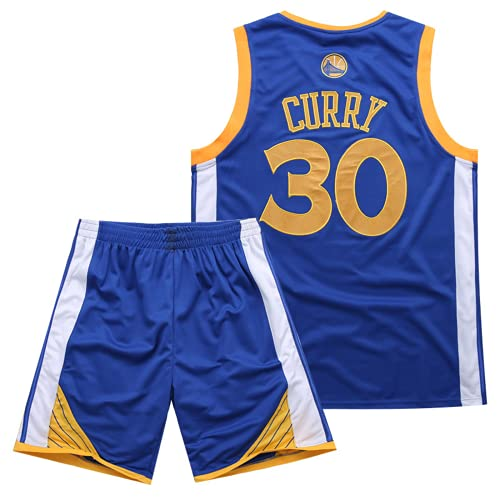 NiñOs Y NiñAs Golden State Warriors 30# Stephen Curry Uniforme De Baloncesto, Malla Transpirable, Ropa Deportiva, Camiseta Para Hombres, Sin Mangas, 1 Juego De Tops + Shorts