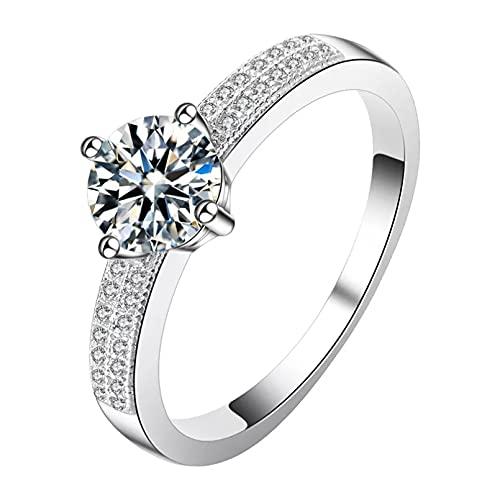 BAJIE Anillo de Boda Anillo de Diamantes de Plata esterlina 925 Adecuado para Damas Anillo de joyería Brillante con Piedras Preciosas de Boda