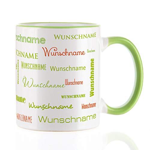 Herz & Heim® Namenstasse in verschiedenen Schriftarten 300 ml aus Keramik mit Farbauswahl Grün