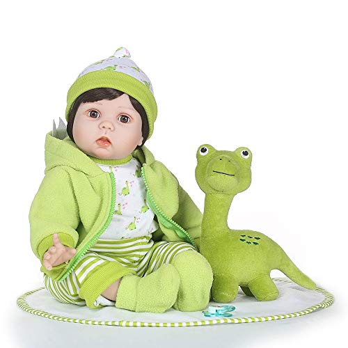 OUKU Doll 24 Inch Boy Dolls Reborn Toddler Dolls Realistic Looking Soft Silicone Lifelike Gift Blink Kid's Boys' / Girls' Toy Gift with Dinosaur / Clothes