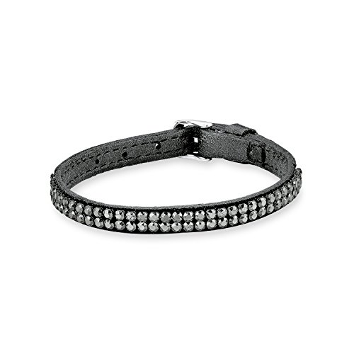 s. Oliver Damen-Armband Lederarmband Swarovski Elements Edelstahl Kristall grau Rundschliff 21 cm - 544740