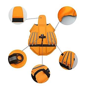 BLEVET Gilet de Sauvetage pour Chien Flottaison Lifesaver Gilet De Sauvetage Gilet de Flottaison pour Chien avec Poignée MZ085 (M, Orange)