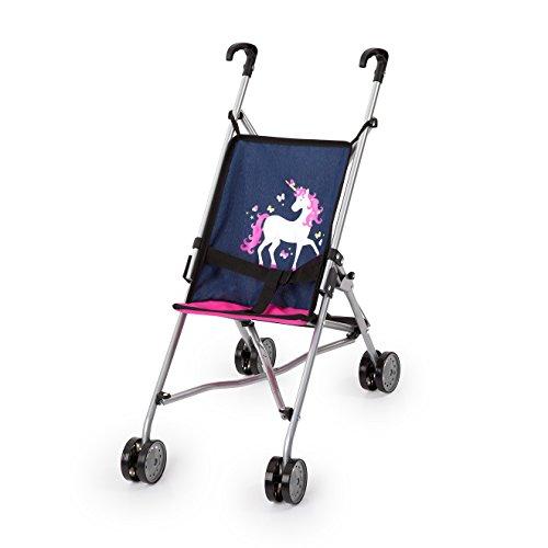 Bayer Design 30154AA Puppenbuggy, Puppenwagen mit integrierten Sicherheitsgurt, leicht faltbar, klappbar, blau, rosa, Einhorn
