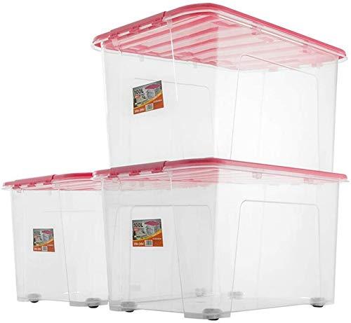 Caja de Almacenamiento Caja de Cierre de 100L Transparente con Tapa apilable Cuarto de galón con Rueda Caja para Tirar Ropa Refrigerio Juguete Cubo de arroz Cubo de harina Paquete de 3