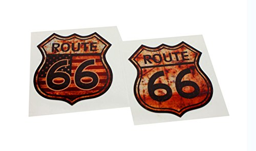 navire ROUTE66 ルート66 アンティーク レトロ 調 防水 ステッカー 2枚 セット