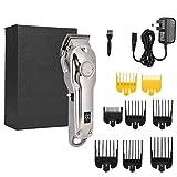 SolUptanisu Professional Electric Hair Clipper Hair Trimmer Hair Cutting Machine Hair Cutting Machine Hairdressing Tool US Plug 100-240V(Silver)
