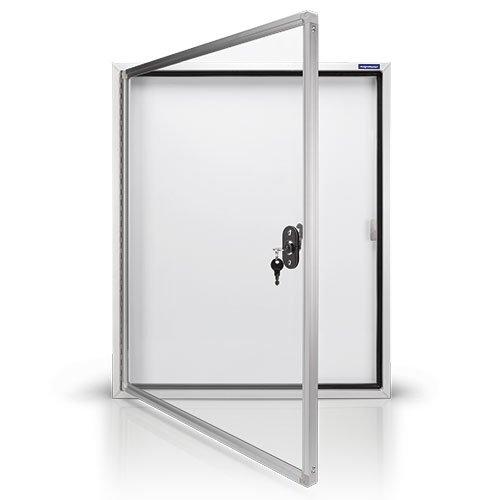 magnetoplan Schaukasten CC, 4 x A4, weitere Größen auswählbar mit Sicherheitsglas für Außenbereich, weiß/aluminium/grau