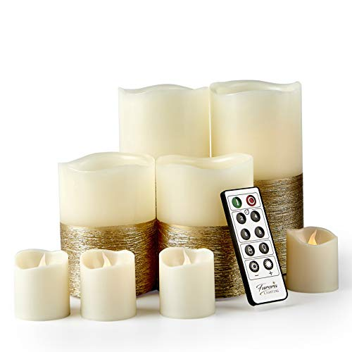 Furora LIGHTING LED Flameless Candles with Remote Control, Set of 8, Real Wax Battery Operated Pillars and Votives LED Candles with Flickering Flame and Timer Featured - Gold Trim