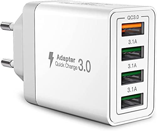 Cargador USB de Pared 33W,Cargador USB Carga rapida con 4 Puertos,Quick Charge 3.0 Enchufe USB Multiple para iPhone11 12 XS 8 7 6, Samsung S21 S20 S10 S9 S8,Huawei P30 P20 P10 P9, Redmi Note 9/8