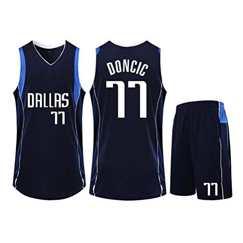 WWWJ Doncic #77 - Set di maglia da basket, felpa da allenamento per tifosi, gilet, maglietta e pantaloncini per uomo e donna Dallas Mavericks, 123, Nero , L