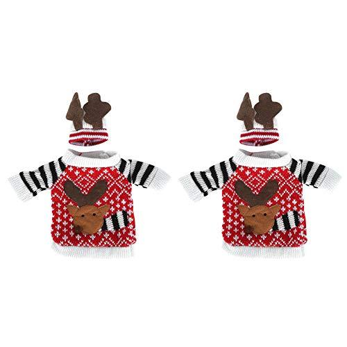 Cubierta de botella de vino de Navidad, 2 unids/set suéter de botella de vino hecho a mano lindos regalos de Navidad para decoraciones de manualidades de fiesta de cumpleaños