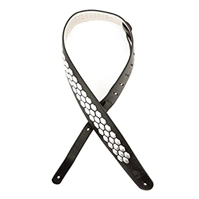 Hex Studded Black Leather Guitar Strap