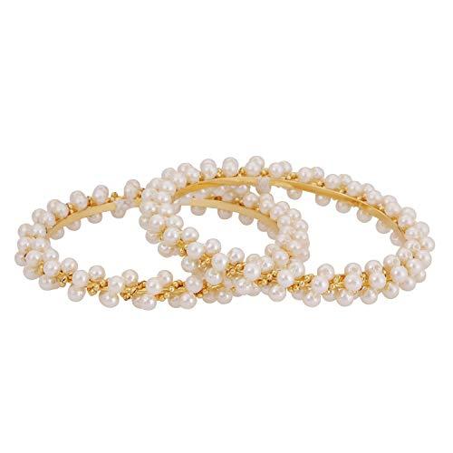 Efulgenz Indian Style Bollywood Gold Plated Faux Pearl Stone Wedding Bridal Bracelet Bangle Set Jewelry (2 Pc), 2-4