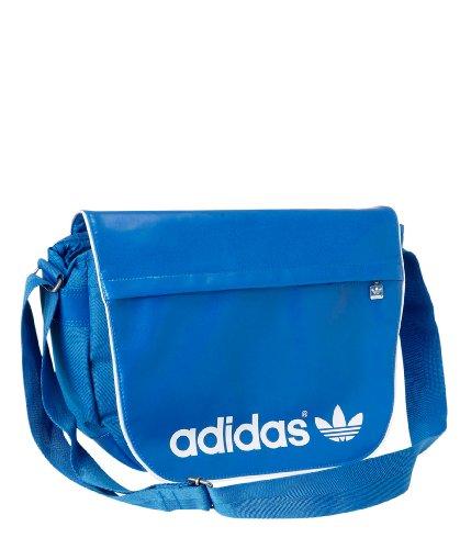 adidas, Borsa a tracolla Donna, Blu (Bluebird/bianco), 44x33x8 cm