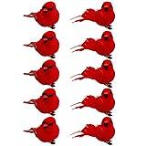BESPORTBLE 10 Stücke Rote Künstliche Vögel mit Federn und Clip Weihnachtsbaumschmuck Christbaumschmuck Gartendeko Baumschmuck Weihnachtsbaum Deko Weihnachten Dekoration Ornamente