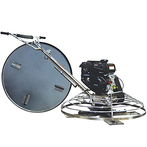 TOMAHAWK 36' Power Trowel Walk Behind Gas Power 6 HP Kohler Engine with Combo Blades Float Pan for Concrete Finishing Cement Floor Surface