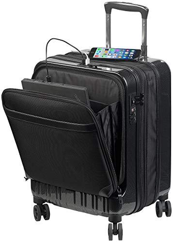 Xcase Koffer: Handgepäck-Trolley mit Dehnfalte, Powerbank-Anschluss, TSA, 34/39 l (Business Trolley)