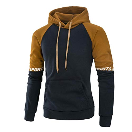 UJUNAOR Herren Langarm Patchwork Hoodie Kapuzen Sweatshirt Tops Jacke Mantel Outwear M bis 3XL(M,Khaki)