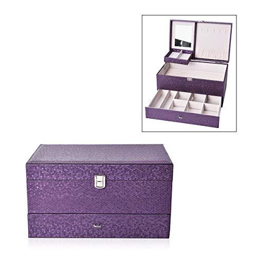 Shop LC Delivering Joy Purple Honeycomb Pattern Faux Leather 3-Tier Trinket Jewelry Organizer Box Storage Lock