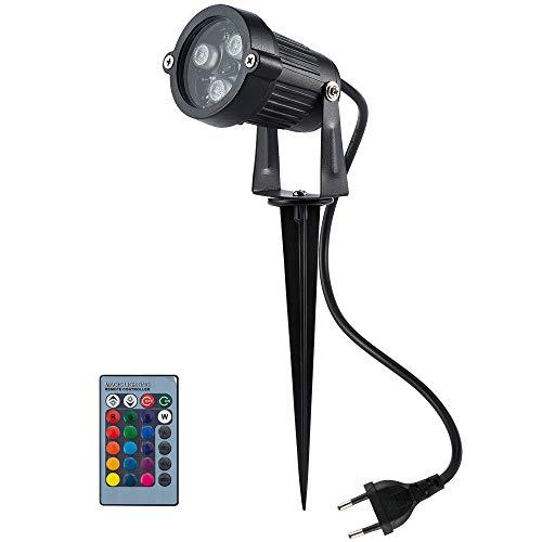 BLOOMWIN LED Gartenstrahler Gartenlampe Gartenbeleuchtung Gartenleuchte 6W RGB Gartenlicht mit Erdspiess Rasen Licht Gartenspiess Wasserdicht IP65
