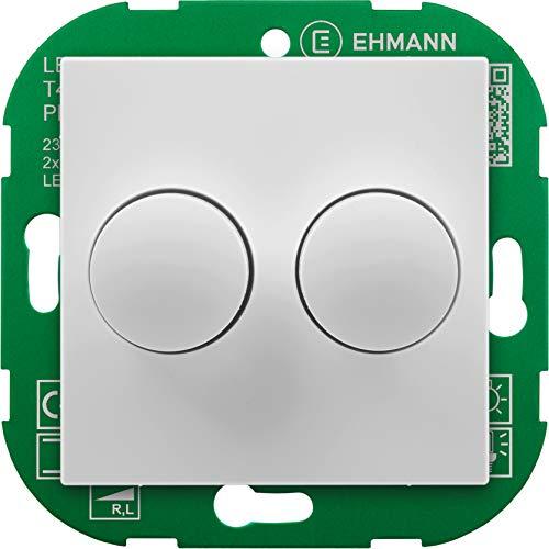 EHMANN 4295x0700 T42.07 Unterputz-Doppeldimmer mit Abdeckung 55x55, Phasenanschnitt, 230 V, 50 Hz, Leistung: LED 5-40 W, 2X 15-110 W/VA