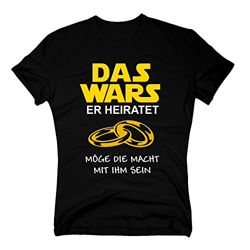 Das Wars Herren T-Shirt - Er heiratet - Junggesellenabschied - von Shirt Department, schwarz-gelb, L