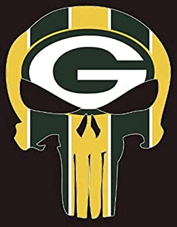 CA POWER Punisher Skull Green Bay Packers Vynil Car Sticker Decal Rectangular 5 x 4 inch (2 Pieces)