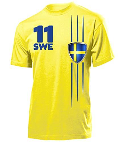 Schweden Sverige Sweden Fan t Shirt Artikel 3297 Fuss Ball EM 2020 WM 2022 Team Trikot Look Flagge Fahne Jersey World Cup Männer Herren Jungen XXL