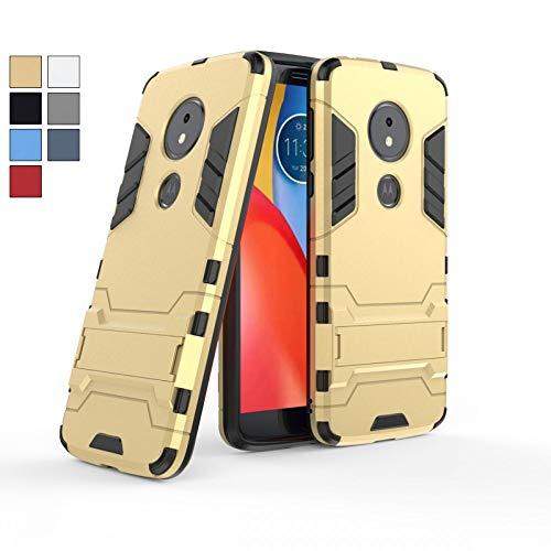 COOVY® Cover für Motorola Moto E5 / Moto G6 Play Bumper Hülle, Doppelschicht aus Plastik + TPU-Silikon, extra stark, Anti-Shock, Standfunktion | Farbe Gold