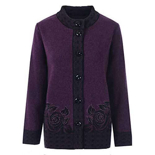 Middle-Aged Old Women Knitwear Cardigan Autumn Winter Loose Warm Sweater Single-Breasted Female Knit Deep Purple XL