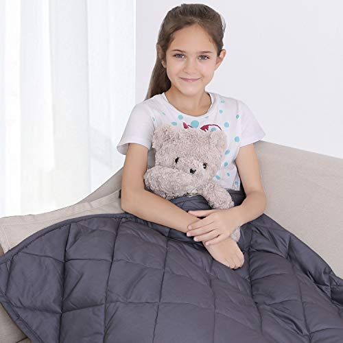 "bedextra Weighted Blanket 7lbs for Kids - 100% Organic Cotton 41"" x 60"" Cooling Heavy Blanket for 60-80lbs Individual with Glass Beads for Calmer Days and Restful Nights"