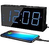 """Digital Alarm Clock, 7.5"""" Dimmer Large LED Display Dual Alarm Clock for Bedroom with Battery Backup,USB Charging Port,Adjustable Volume,Snooze,12/24Hr DST,Basic Bedside Digital Clock for Heavy Sleeper"""