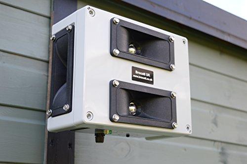 BCT Ahuyentador ultrasónico para pájaros – Impermeable para Interior y Exterior multifrecuencia, 4 Altavoces, Repelente ultrasónico de Perros, Hecho en el Reino Unido