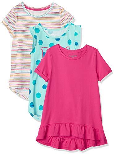 Amazon Essentials Girl 3 Pack Tunic Vestito, Blu, Pois, 6-7 Anni, Pacco da 3