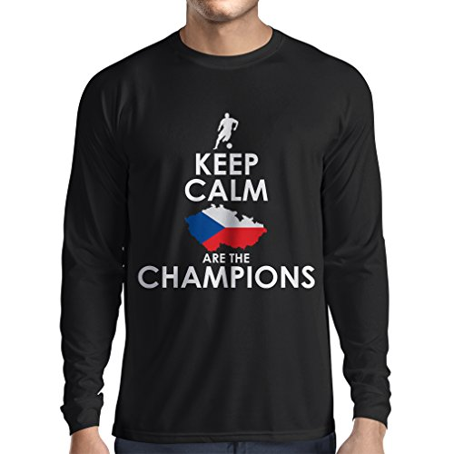 N4496L Camiseta de Manga Larga Czechs Are The Champions (X-Large Negro Multicolor)