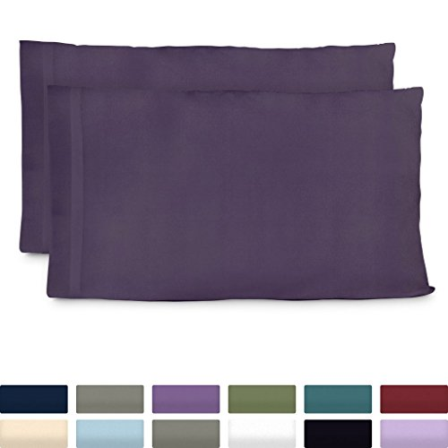 Cosy House Collection Luxury Bamboo Standard Size Pillowcases - Purple Pillowcase Set of 2 - Ultra Soft & Cool Hypoallergenic Natural Bamboo Blend Cover - Resists Stains, Wrinkles, Dust Mites