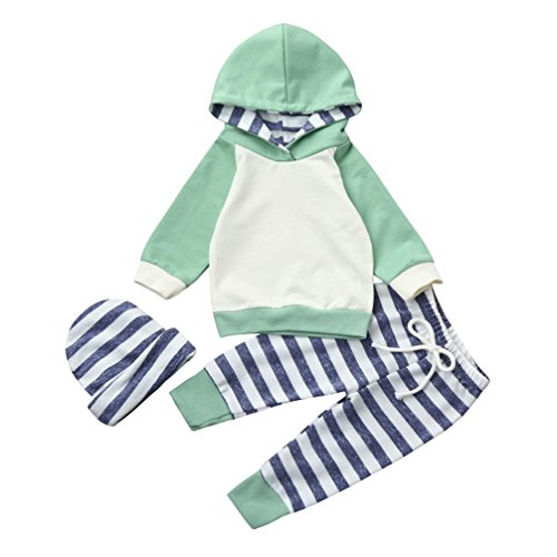 kingko 3pcs Bébé Garçon Fille Vêtements Ensemble Hoodie Tops + Pantalon + Chapeau Vert Tenues (6-12 Mois)