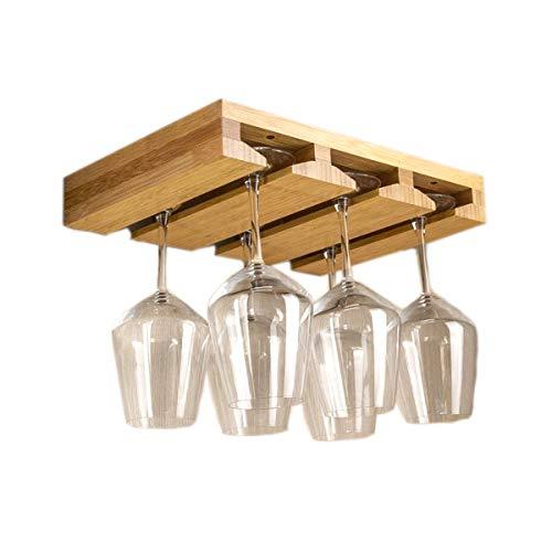 Riipoo Wine Glass Rack Under Cabinet, Wine Glass Holder, Bamboo Stemware Rack for Home, Kitchen, Bar