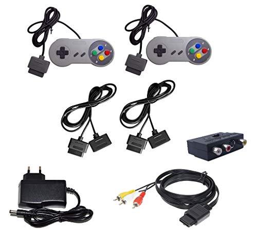 DARLINGTON & Sohns Komplett Set 2 Stück Controller + Verlängerungskabel + TV Scart Kabel + Netzteil für Nintendo SNES Super Nintendo Kabel Set Controller Verlängerung Gamepad Extansion