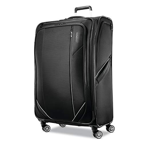 American Tourister Zoom Turbo Softside Expandable Spinner Wheel Luggage, Black, Checked-Large 28-Inch
