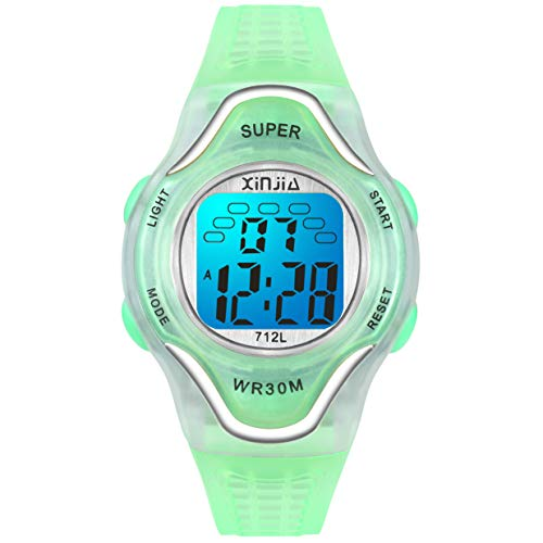 Girls Watches Waterproof Kids Digital Watch Seven Colors Backlight Functional Digital Watch for Boys Girls with Soft Band