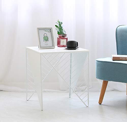 YWXCJ Tables Basses Nordic Or Fer forgé carré Petite Table Basse Simple Petit Appartement canapé Salon côté Chambre Table de Chevet décoration (Couleur : Blanc, Taille : 40x40x45.5cm)