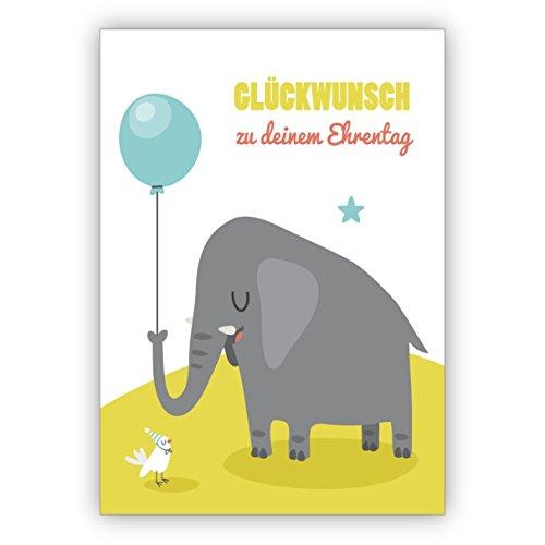 Tolle Geburtstagskarte mit gratulierendem Elefant und Luftballon mit kleiner Taube: Glückwunsch zu deinem Ehrentag • schöne Glückwunsch Geschenk-karte mit Umschlag geschäftlich & privat