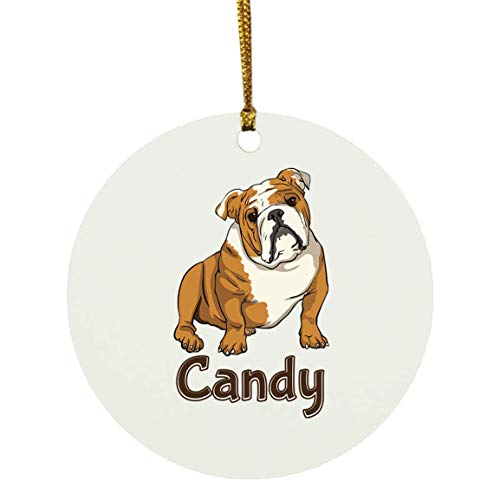 Weezag Candy Bulldog Dog Christmas Ornaments Tree Decor Decorations, Custom Personalized with Your Name Xmas Ornament Dog Lover Gifts for Pet Owner, 9318