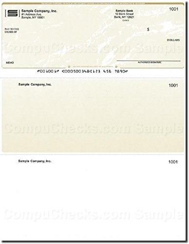 Computer Checks - 250 Printed Laser Computer Voucher Checks - Gold Marble - Compatible for QuickBooks
